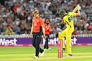 Wicket - Andrew Tye of Australia is furious with himself after David Willey of England took his wicket during the International T20 match between England and Australia at Edgbaston, Birmingham, United Kingdom on 27 June 2018. Picture by Graham Hunt.