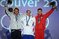 VANCOUVER OLYMPIC GAMES 2010 - VANCOUVER (CAN) - 14/02/2010 - PHOTO : FRANCK FAUGERE / DPPI<br /> BIATHLON / 10KM SPRINT MEN - EMILHEGLE SVENDSEN (NOR) / SILVER MEDAL - VINCENT JAY (FRA) / GOLD MEDAL - JAKOV FAK (CRO) / BRONZE MEDAL