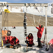 Scientists working on Lake Bonney, Dry Valleys, Antarctica.