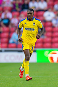 Michael Folivi (#17) of AFC Wimbledon during the EFL Sky Bet League 1 match between Sunderland and AFC Wimbledon at the Stadium Of Light, Sunderland, England on 24 August 2019.