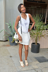 TOLULA ADEYEMI at a supper and screening of 'No More Tiaras' a film by Mary Nighy held at Shrimpy's, King's Cross Filling Station, Goods Way, London on 7th May 2014.