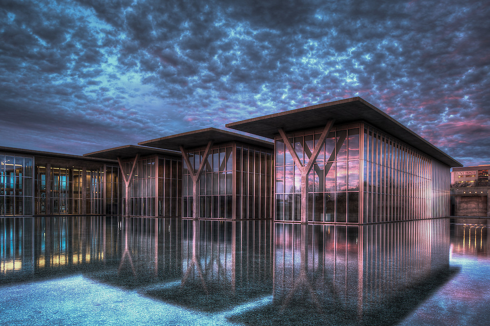 The Modern Art Museum of Fort Worth during a beautiful morning sunrise.