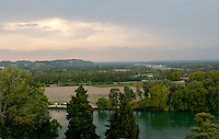 Looking out over the countryside of the Rhone River from Avignon, France.