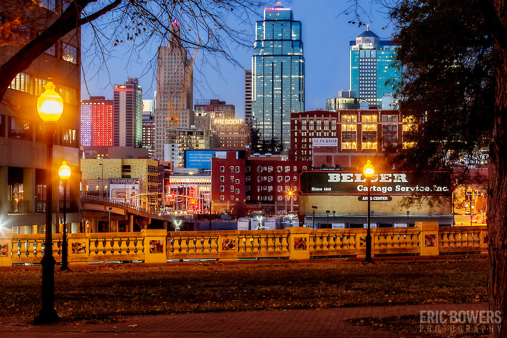 Kansas City's downtown skyline at dusk, viewed from Washington Square Park in the Crown Center area.
