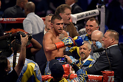 December 9, 2017 - New York, New York, USA - VASILIY LOMANCHENKO celebrates after defeating GUILLERMO RIGONDEAUX in a junior lightweight WBO World Title bout at Madison Square Garden in New York City, New York. (Credit Image: © Joel Plummer via ZUMA Wire)