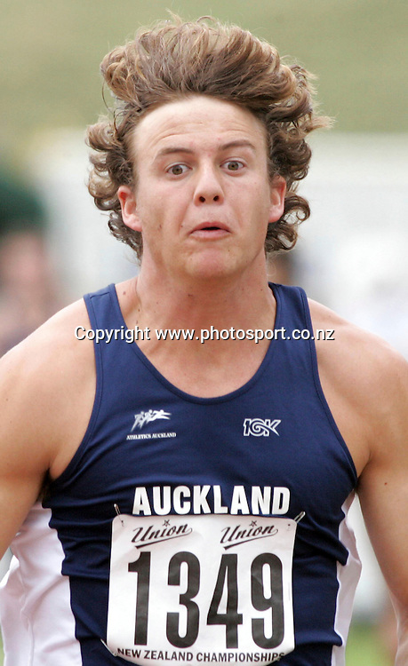 Brent Newdick (Auckland) competes in the Men's Long Jump final at the 2007 Union Athletics New Zealand Track &amp; Field Championships at TET Stadium, Inglewood, New Zealand on Friday 2 March 2007. Photo: Hannah Johnston/PHOTOSPORT<br /> <br /> <br /> <br /> 020307