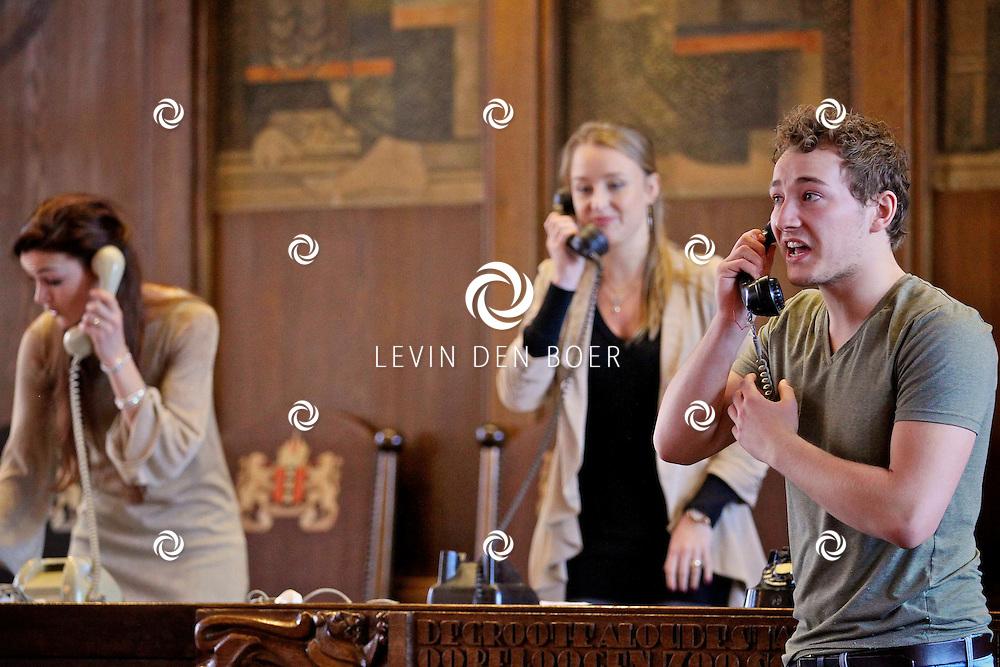 AMSTERDAM - Eind april en begin mei is de bekroonde musicalGrand Hotelvoor het eerst te zien in Nederland en wel op een unieke locatie: het vijfsterrenhotel Sofitel Legend The Grand Amsterdam. Vandaag maakte producent M-Lab de casting van de hoofdrollen bekend.  Met op de foto Pien van Gerven, Nadine Termeer en Jasper van Dijk. FOTO LEVIN DEN BOER - PERSFOTO.NU