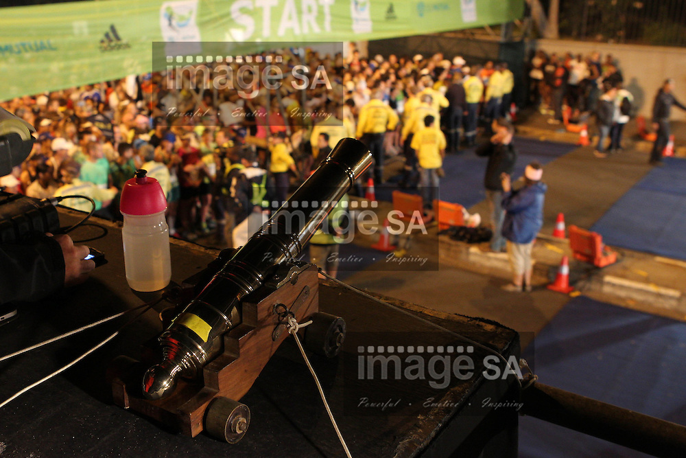 CAPE TOWN, South Africa - Saturday 30 March 2013, The starter cannon of the half marathon of the Old Mutual Two Oceans Marathon. .Photo by Greg Beadle/ ImageSA