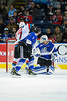 KELOWNA, CANADA - MARCH 11: Calvin Thurkauf #27 of the Kelowna Rockets scores the game winning goal in OT against the Victoria Royals on March 11, 2017 at Prospera Place in Kelowna, British Columbia, Canada.  (Photo by Marissa Baecker/Shoot the Breeze)  *** Local Caption ***