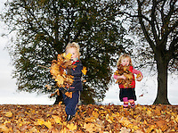 Boy and girl (3-4) playing in autumn leaves