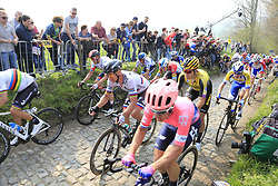 The peloton including Alberto Bettiol (ITA) EF Education First, World Champion Alejandro Valverde (ESP) Movistar, Peter Sagan (SVK) Bora-Hansgrohe, Alexander Kristoff (NOR) UAE Team Emirates and Wout Van Aert (BEL) Jumbo-Visma climb the Koppenberg during the 2019 Ronde Van Vlaanderen 270km from Antwerp to Oudenaarde, Belgium. 7th April 2019.<br /> Picture: Eoin Clarke | Cyclefile<br /> <br /> All photos usage must carry mandatory copyright credit (© Cyclefile | Eoin Clarke)