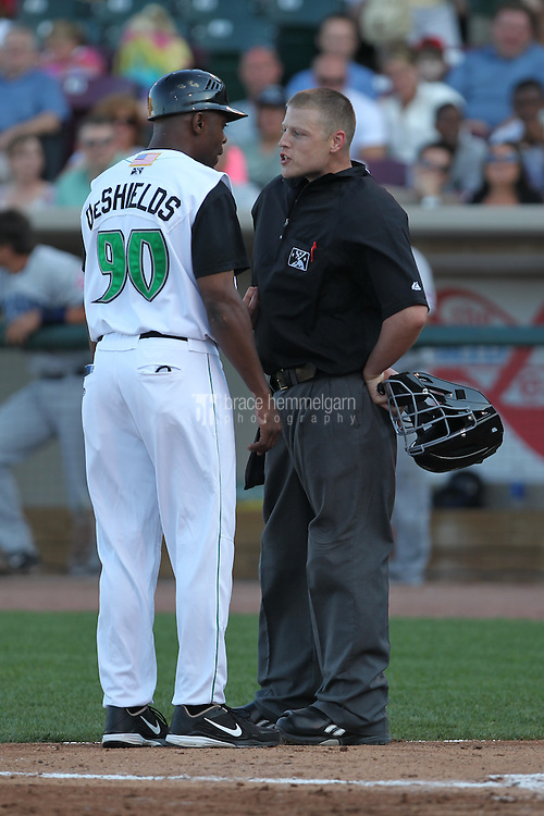 Dayton Dragons manager Delino DeShields #90 argues a call with home plate umpire Clay Park during a game against the Lake County Captains at Fifth Third Field on June 25, 2012 in Dayton, Ohio. Lake County defeated Dayton 8-3. (Brace Hemmelgarn)