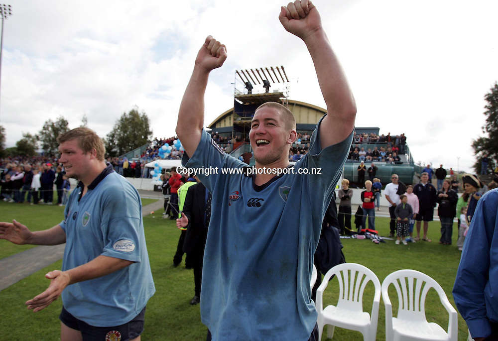 Northland lock Tim Henwood celebrates at the conclusion of the playoff match at Trafalgar Park, Nelson, Saturday 23 October 2004. Northland defeated Nelson Bays 32-13.<br />