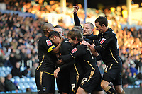 Fotball<br /> England<br /> Foto: Fotosports/Digitalsport<br /> NORWAY ONLY<br /> <br /> 02.01.10 Portsmouth v Coventry FA Cup 3rd Round Fratton <br /> David Bell (Coventry) celebrates his goal with team mates