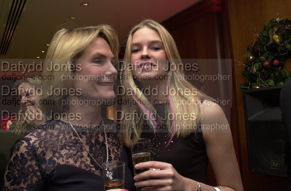 Lady Mary Gaye Shone and her daughter Isabella Anstruther-Gough-CalthorpeTiffany party. 13 December 2000. © Copyright Photograph by Dafydd Jones 66 Stockwell Park Rd. London SW9 0DA Tel 020 7733 0108 www.dafjones.com