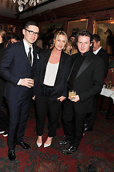Left to right, ERDEM MORALLOGLU, ANYA HINDMARCH and CHRISTOPHER KANE at a party hosted by Justine Picardie, Editor-in-Chief of Harper's Bazaar UK and Glenda Bailey, Editor-in-Chief of Harper's Bazaar US to celebrate the end of London Fashion Week and the biggest-ever March issues of Harper's Bazaar, held at Mark's Club, Charles Street, London on 19th February 2013.