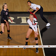 09 November 2017:  The San Diego State Aztecs women's volleyball team hosts UNLV Thursday night at Peterson Gym. San Diego State outside hitter Hannah Turnlund (7) receives a serve during a game against UNLV. The Aztecs won 3-1 (25-18; 16-25; 25-12; 25-13).<br /> www.sdsuaztecphotos.com