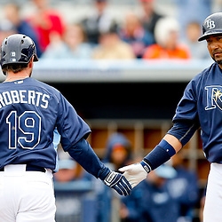 Mar 2, 2013; Port Charlotte, FL, USA; Tampa Bay Rays third baseman Ryan Roberts (19) celebrates with teammate Jose Molina after hitting a solo homerun against the Baltimore Orioles during a spring training game at Charlotte Sports Park. Mandatory Credit: Derick E. Hingle-USA TODAY Sports