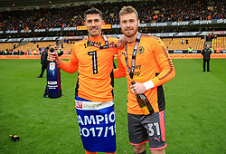 Free to use courtesy of Sky Bet - Danny Batth and Will Norris of Wolverhampton Wanderers celebrate after lifting the Sky Bet Championship 2017/18 league trophy - Mandatory by-line: Matt McNulty/JMP - 28/04/2018 - FOOTBALL - Molineux - Wolverhampton, England - Wolverhampton Wanderers v Sheffield Wednesday - Sky Bet Championship
