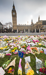 Westminster, London, March 27th 2017. The Queen Elizabeth tower looms over  the many floral tributes to the victims of Wednesday March 22nd's terror attack. Credit: ©Paul Davey<br /> <br /> ©Paul Davey<br /> FOR LICENCING CONTACT: Paul Davey +44 (0) 7966 016 296 paul@pauldaveycreative.co.uk