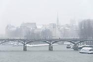 France. Paris 1st district, art bridge and ile de la cité