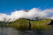 Low clouds wrapping around mountain peaks in Milford Sound, Fiordland, New Zealand.