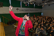 Stand-up muslim comedian Humza Arshad in Whitefield school in North London (Great Britain) works alongside Scotland Yard with a show to help fight radicalization. That day he addressed about 200 children aged between 11 and 18. In the picture he is taking a selfie with the audience.