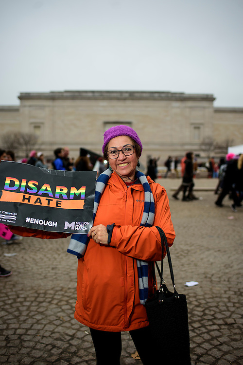 Washington, D.C. - January 21, 2017: Cumanda Vinueza, 60, Ecuador.<br /> <br /> An estimated half a million people showed up to the nation's capital for the Women's March on Washington Saturday January 21, 2106.<br /> <br /> <br /> CREDIT: Matt Roth for Buzzfeed