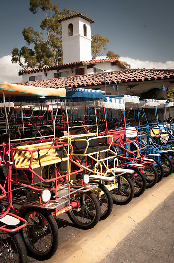tricycles for rent on waterfront of Santa Barbara California USA