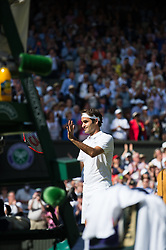 LONDON, ENGLAND - Wednesday, July 6, 2016: Roger Federer (SUI) after winning the Gentlemen's Single Quarter Finals match on day ten - of the Wimbledon Lawn Tennis Championships at the All England Lawn Tennis and Croquet Club. (Pic by Kirsten Holst/Propaganda)