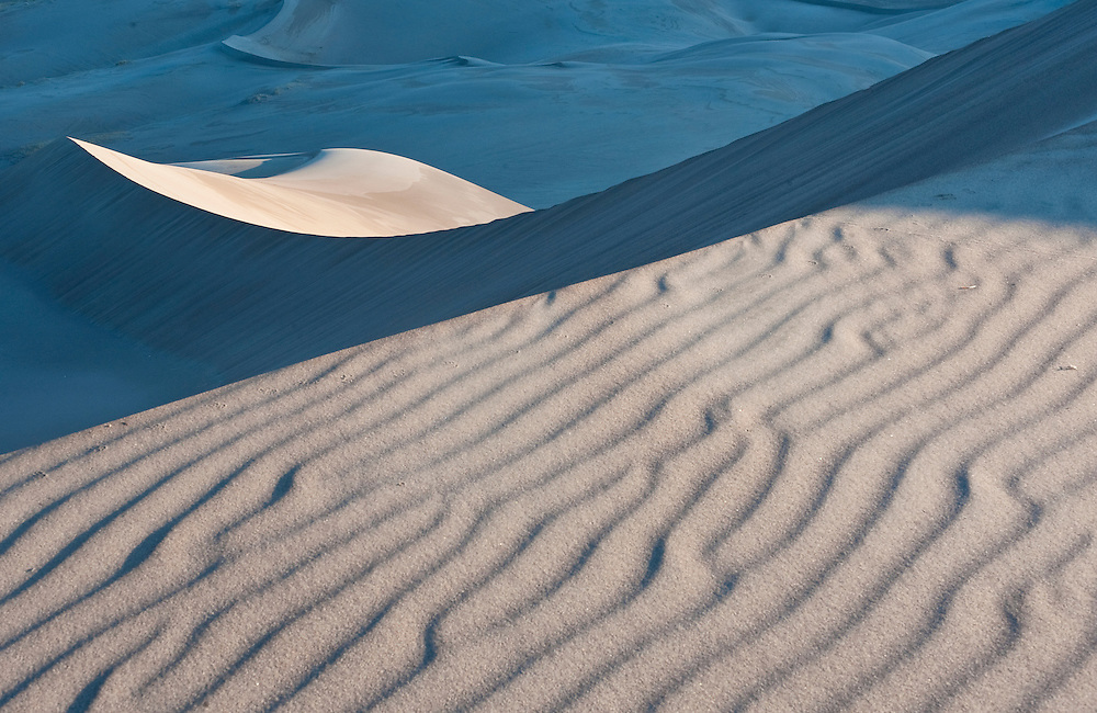 Light and shadow on the dunes at Great Sand Dunes National Park and Preserve, Colorado
