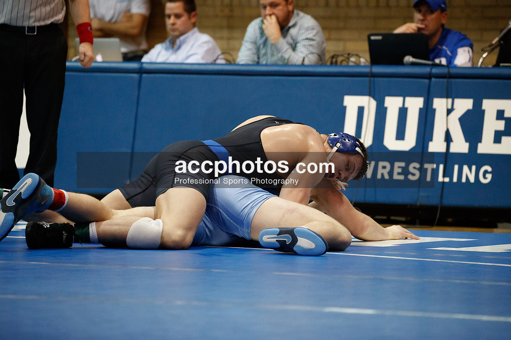 2017 February 08: Duke Blue Devils wrestling during a 25-15 loss to the the North Carolina Tar Heels at Card Gymnasium in Durham, NC.<br /> <br /> HWT: No. 4 Jacob Kasper (Duke) dec. Cory Daniel (UNC), 3-1