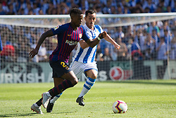 September 15, 2018 - Juanmi of Real Sociedad and Semedo of FC Barcelona in action during the match played in Anoeta Stadium between Real Sociead and FC Barcelona in San Sebastian, Spain, at Sept. 15th 2018. Photo UGS/AFP7 (Credit Image: © AFP7 via ZUMA Wire)