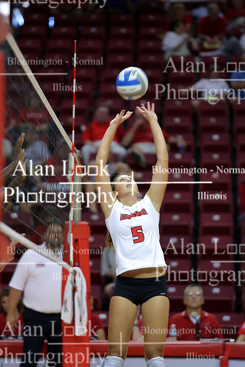 16 AUG 2008:  Jessica Pratapas fakes the set and launches a soft attack during the annual Red-White intra-squad scrimmage at Redbird Arena on the campus of Illinois State University in Normal Illinois.