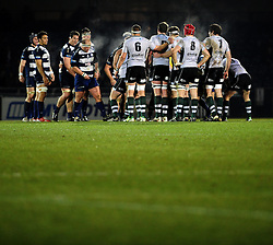 The two teams prepare to scrum - Photo mandatory by-line: Dougie Allward/JMP - Tel: Mobile: 07966 386802 08/03/2013 - SPORT - RUGBY - Memorial Stadium - Bristol. Bristol v Nottingham - RFU Championship.