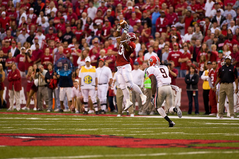 University of Arkansas Razorback Football action photos during the 2009-2010 season in Fayetteville, Arkansas....©Wesley Hitt.All Rights Reserved.501-258-0920.
