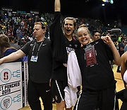 Stanford Cardinal players celebrate  after upsetting the Oregon Ducks in the  championship game of the Pac-12 Conference women's basketball tournament Sunday, Mar. 10, 2019 in Las Vegas.  Stanford defeated Oregon 64-57. (Gerome Wright/Image of Sport)