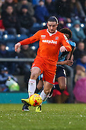 Luke Rooney of Luton Town holds off Sido Jombati of Wycombe Wanderers (rear) during the Sky Bet League 2 match at Adams Park, High Wycombe<br /> Picture by David Horn/Focus Images Ltd +44 7545 970036<br /> 26/12/2014