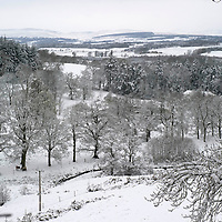 Snow Hits Perthshire in April....03.04.12<br /> Only a week after record temperatures hit the 20's, snow fell over Perthshire overnight and into Tuesday morning...Pictured the 'winter wonderland' view down Glendevon as seen from Gleneagles.<br /> Picture by Graeme Hart.<br /> Copyright Perthshire Picture Agency<br /> Tel: 01738 623350  Mobile: 07990 594431