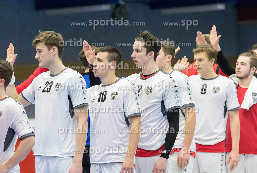 07.01.2017, BSFZ Suedstadt, Maria Enzersdorf, AUT, IHF Junior WM 2017 Qualifikation, Österreich vs Tschechische Republik, im Bild Konrad Wurst (AUT), Marin Martinovic (AUT), Philipp Seitz (AUT), Sebastian Spendier (AUT), Nikolaus Fuchs (AUT) // during the IHF Men's Junior World Championships qualifying match between Austria and Czech Republic at the BSFZ Suedstadt, Maria Enzersdorf, Austria on 2017/01/07, EXPA Pictures © 2017, PhotoCredit: EXPA/ Sebastian Pucher