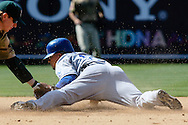 Rafael Furcal steals second base in the eighth inning of the San Diego Padres' home game against the Los Angeles Dodgers on April 6, 2008.