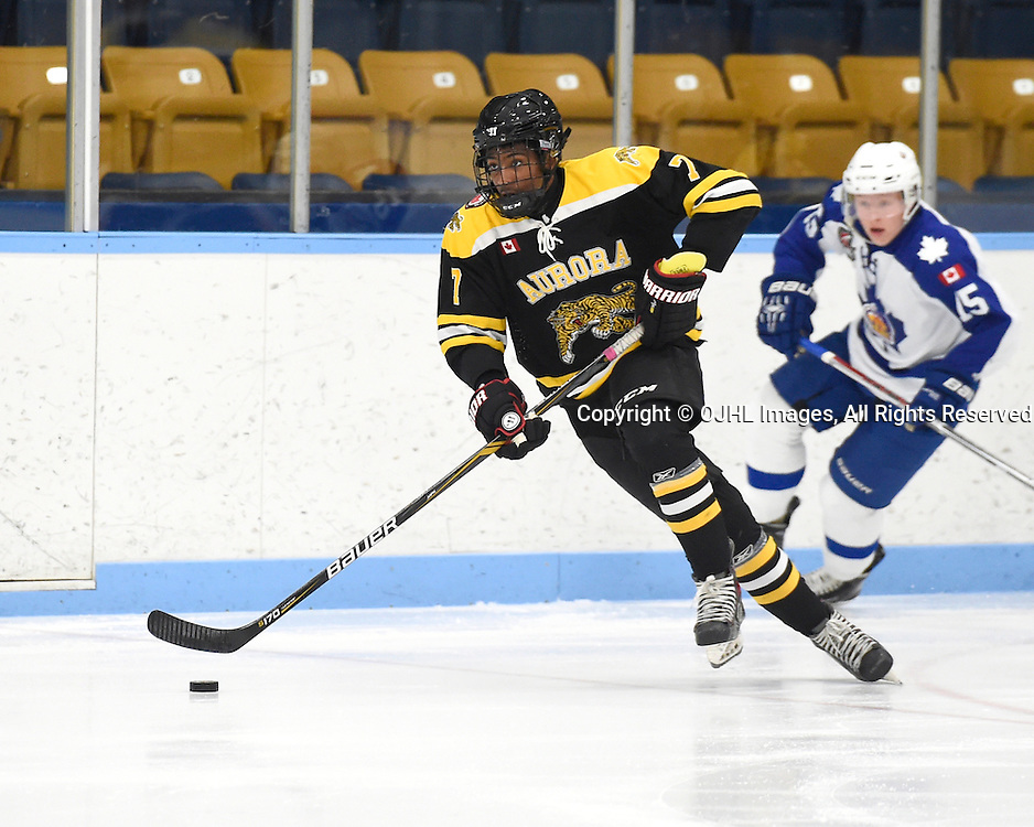 MARKHAM, ON - JAN 20,  2017: Ontario Junior Hockey League game between Aurora and Markham, Ryan Mahabir #7 of the Aurora Tigers skates up the ice during the second period.<br /> (Photo by Andy Corneau / OJHL Images)