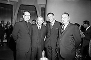18/09/1967<br /> 09/18/1967<br /> 18 September 1967<br /> Mr Paul A. Fabry, Managing Director, International House, New Orleans, Reception for New Orleans Delegation at the United States Embassy, Dublin. Picture shows (l-r): Rev. John F. Keller, S.J.,  Executive Vice-President, Loyola University, New Orleans; Dr Hogan ?; Dr Howie, Registrar, TCD and Dr David R. Deener, Dean of The Graduate School, Tulane University.