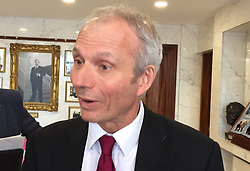 Cabinet Office Minister David Lidington in Newry, Northern Ireland where he met local businesspeople on a two-day trip to border areas ahead of Brexit.