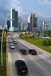 General view of sky scrapers / skyline with highway and traffic, Panama City, Panama