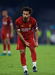 NAPLES, ITALY - Tuesday, September 17, 2019: Liverpool's Mohamed Salah pulls up his sock during the UEFA Champions League Group E match between SSC Napoli and Liverpool FC at the Studio San Paolo. (Pic by David Rawcliffe/Propaganda)