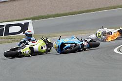 17.07.2010, Sachsenring, GER, MotoGP, Deutschland Grand Prix 2010, im Bild crash of Alvaro Bautista - Rizla Suzuki team. EXPA Pictures © 2010, PhotoCredit: EXPA/ InsideFoto/ Semedia +++ ATTENTION - FOR AUSTRIA AND SLOVENIA CLIENT ONLY +++ / SPORTIDA PHOTO AGENCY