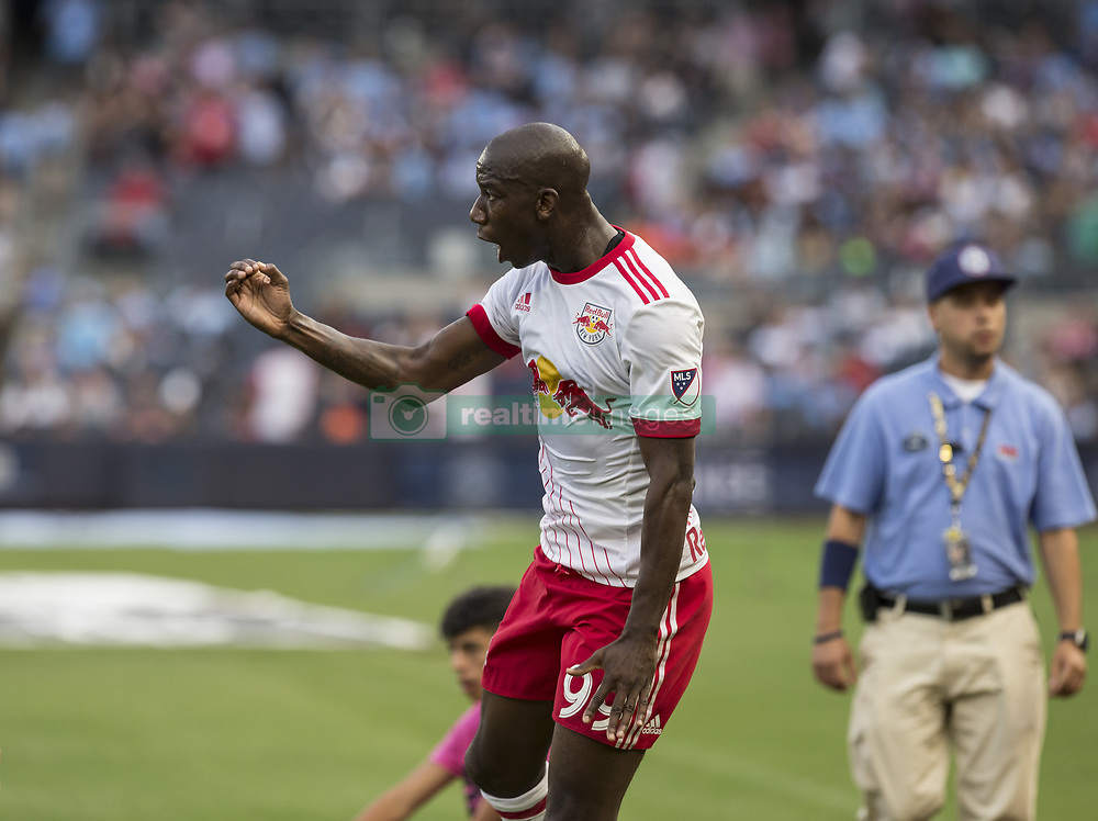 August 6, 2017 - New York, New York, United States - Bradley Wright-Phillips (99) of Red Bulls celebrates scoring goal during MLS game against NYC FC on Yankee Stadium NYC FC won 3 - 2 (Credit Image: © Lev Radin/Pacific Press via ZUMA Wire)