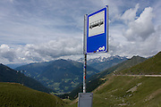 Bus stop near the top of the Jaufenpass, the highest point at 2,094 metres on the road between Meran-merano and Sterzing-Vipiteno in South Tyrol, Italy. The South Tyrolean budget is 5bn Euros with only 10% leaving the region for government in Rome.