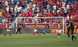 August 5, 2018 - Harrison, New Jersey, United States - Goalkeeper Luis Robles (31) of Red Bulls saves during regular MLS game against LAFC at Red Bull Arena Red Bulls won 2 - 1 (Credit Image: © Lev Radin/Pacific Press via ZUMA Wire)